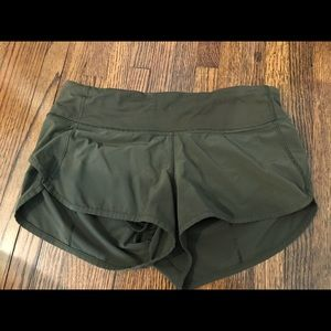 Army Green Lululemon Speed Up Shorts Size 4